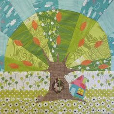 Block 7 - Under the Moreton Bay Fig The requirement for the block was that it had to have a tree or a house or both. I chose both. Using the simple technique of foundation piecing (paper piecing ) and raw edge appliqué