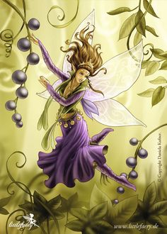 Littlefaery Viona by ladydragonia with Elder berries? Aronia berries? Either way, great healing plants