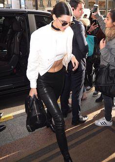 Kendall Jenner in J BRAND's L8007 Edita Mid-Rise Leather Leggings.