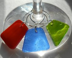Set of 8 Stained Glass Wine Charms SO Sparkly and Gorgeous Your wine glasses deserve COOL sparkly jewelry!  Great Best Friend Gift and Made in the USA