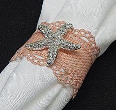 OOAK Silver RHINESTONE STARFISH on Salmon Linen Lace Napkin Ring, 25 Winter Destination Wedding w/ Nautical  Seashore Theme Special Occasion