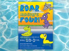 Fully Customizable Printable Dinosaur Pool Party Children's by EAlexDesigns on Etsy $10.00