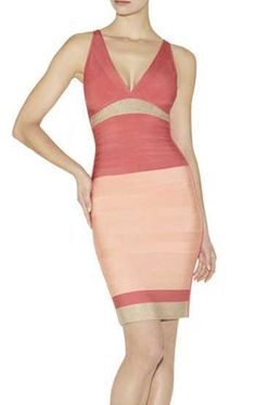 2017 New HERVE LEGER Coral Skye Colorblocked Bandage Dress
