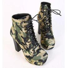 Women Autumn Boots High Heels Platform Military Boots Green Color