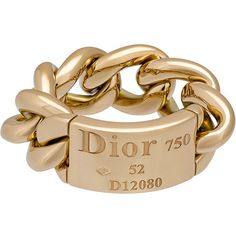 Christian Dior Estate 18k Yellow Gold Gourmette Chain Ring ($1,495) ❤ liked on Polyvore featuring jewelry, rings, yellow gold band ring, 18k gold ring, 18 karat gold ring, chains jewelry and chunky gold rings