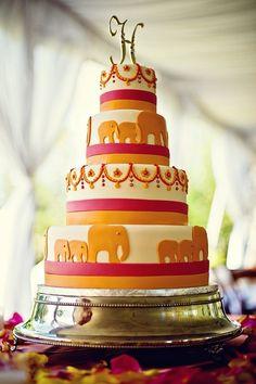 Indian wedding cake. Elephant wedding cake. Orange and pink wedding cake