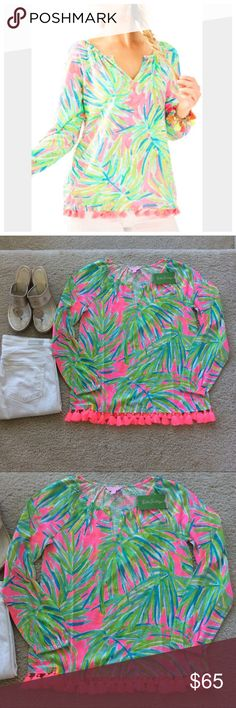 """Lilly Pulitzer Linzy Top Lilly Pulitzer Linzy Top in Tiki Pink Royal Lime. Super cute, super fun and bright💕 Throw on some white jeans or ankle pants and some wedges and you are set! Notched neckline. Long bracelet sleeves. Tassel detail at the hemline. Laying flat approx 24"""" shoulder to hem (excluding the tassels), approx 18"""" pit to pit. 100% cotton. Size XS. NWT. #1144 Lilly Pulitzer Tops"""