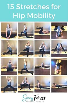 Interested in improving your movement during exercise and in daily life? Increase the range of motion in your hips with these 15 hip opening stretches! It can help improve daily functional movements reduce low back pain and improve knee function as well. Hip Mobility Exercises, Thigh Exercises, Hip Stretching Exercises, Daily Stretches, Hip Opening Stretches, Tight Hips Stretches, Back Pain Stretches, Hip Flexor Stretches, Hip Opening Yoga