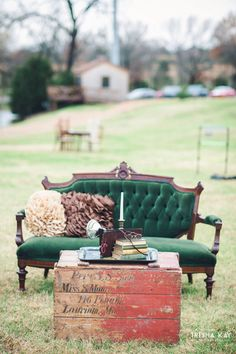 Christmas Winter Barn wedding of Lauren and Jonathan.  Rent My Dust provided the velvet green lounge area. We love all the lovely winter touches they used for their special day.  From vintage lounge areas with plaid to antlers and greenery to lawn games.  Photos by Trisha Kay Photography from rentmydust.com