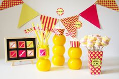 Deluxe Bundle of Yellow & Pink Printables| PARTY DECORATIONS PACKAGE | Instant Download |  15 Items set | Siskale
