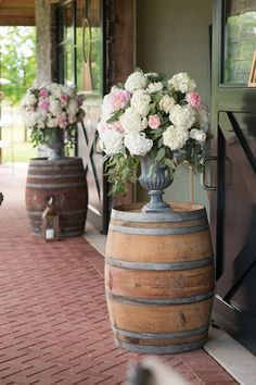 whiskey barrel arrangements | Adam + Alli #wedding