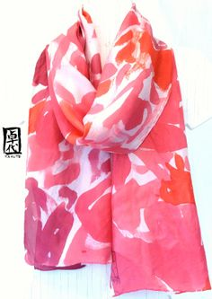 Large Silk Scarf, Mother's Day Gifts, Red Floral Scarf. Abstract Roses Red Silk Scarf. Silk Floral Scarf. 14x71 inches.