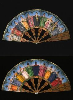 Fan of  Elegant Woman from front and back. 1830's. The Victoria and Albert Museum.