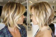 15 Trend Bob Hairstyles Ideas Summer is here and you want to get a haircut? Bob hairstyles Tiered back of the head are currently very trendy! They just look super elegant, i. Short Medium Length Hair, Short Hair Cuts, Medium Hair Styles, Curly Hair Styles, Bohemian Short Hair, Short Wavy, Medium Long, Cool Short Hairstyles, Bob Hairstyles