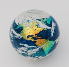 Earth glass marble Silver Quill Antiques and Gifts - Contemporary Glass Marbles The Glass Menagerie, Candle In The Wind, Marble Art, Glass Marbles, Glass Paperweights, Glass Globe, Stained Glass Windows, Stone Art, Handmade Art