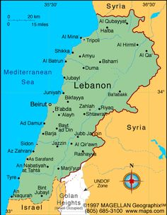 Geography: Shown above is a map of Lebanon. Lebanon is a very small country, even smaller than Israel. Lebanon is located in the Middle East and is bordered by Syria, Israel and the Mediterranean Sea. Beirut Lebanon, Naher Osten, Baalbek, Destinations, Thinking Day, Mediterranean Sea, Heaven On Earth, Beirut, Viajes