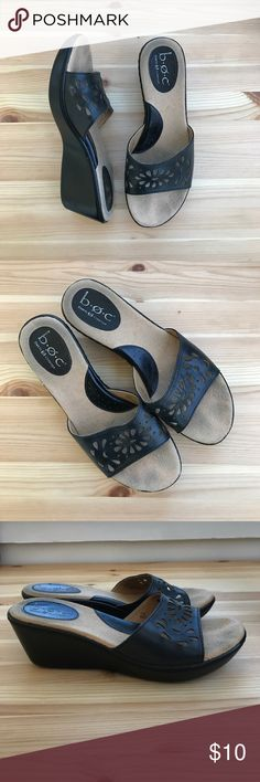 boc Born Concept black wedges simple and comfy black wedge sandals by Born Concept. Size 7/38. Has toe spots as pictured, but otherwise, perfect condition! Born Shoes