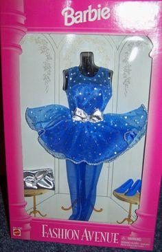1995 Barbie Fashion Avenue Royal Blue Party Mini Silver Dots Bow Hose Shoes | eBay
