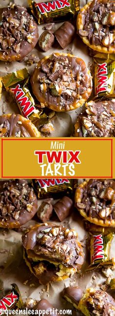 These Mini Twix Tarts taste just like a Twix bar! Mini pre-baked tart shells filled with homemade caramel sauce and topped with milk chocolate and chopped Twix bars. If you love Twix candy bars then this is the perfect treat for you!