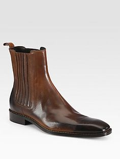 DSQUARED Burnished Leather Ankle Boots