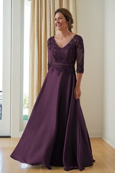 fe4a9ee37a K208004 Long V-neck Satin Face Chiffon MOB Dress with Sleeves