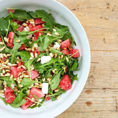 Lovely salad!  #glutenfree #sugarfree #organic #plantpower #plantbased #raw #rawfood #eatclean #cleaneating #foodpic #foodpics #refreshing #nutrition #salad #bbq #barbecue #recipe #blog #foodblog #blogger #foodie #wholefoods #nuts #pinenuts #watermelon #fruitbowl #rocketsalad #eattherainbow #colourful