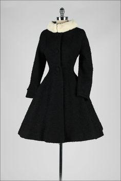 Vintage 1950's Lilli Ann Wool Boucle Mink Collar Princess Coat | From a collection of rare vintage coats and outerwear at http://www.1stdibs.com/fashion/clothing/coats-outerwear/