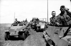 A column SdKfz 251 halftracks transporting  grenadiers with the SS Gross Deutschland Division in the Ukraine during 1942