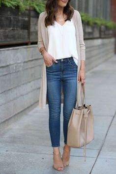 Simple neutrals chic | beige long open front cardigan and bucket bag, white silky blouse, blue jeans