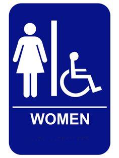 Womens Handicap ADA Braille Restroom Sign