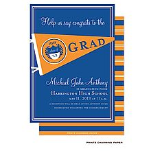 Graduation Party Invitation; Orange and Blue Pennant