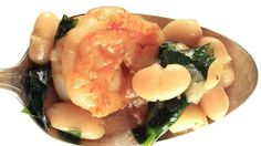 White bean and shrimp stew with dandelion greens