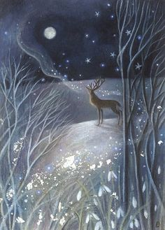 """Whispers to the Old Moon. Stag And Winter Moon Magical Print. Winter Magic in the Forrest….""""Whispers to the Old Moon"""" by Karen Davis magical Moon print Stag whispers winter winteractivities winterchristmas winterillustration winternature winterpictur Art And Illustration, Illustrations, Illustration Fashion, Winter Magic, Winter Art, Fantasy Kunst, Fantasy Art, Grafik Art, Winter Thema"""