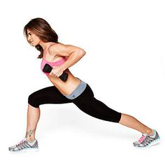 Work your back, butt and legs in the Dumbbell Row in Crescent move from Jillian Michaels.