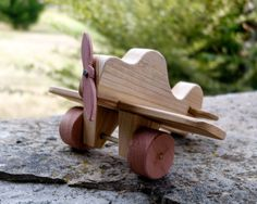 $9 Wood Toy Airplane - Old Fashioned Children's Toy Plane Handmade with Real Wood - Moveable Propeller and Wheels - Kids Toy