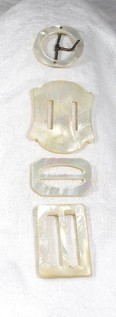 Vintage Lot 4 Mother of Pearl Belt Buckles by blisstiques on Etsy, $7.50