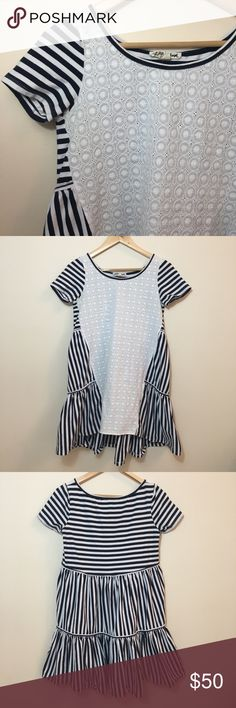 """Anthro Lili's Closet Lace & Striped Hi-Low Dress Gently used Anthropologie Lili's Closet lace & striped hi-low dress in size XS. Perfect for a day at the beach or a picnic or any sunny day during the summer.  Woven eyelet:  100% cotton  Striped fabric:  95% cotton 5% spandex  Chest: 30"""" Length: 32.5"""" Anthropologie Dresses Midi"""