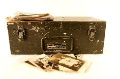 Vintage Black Metal Storage Case Suitcase with Handle and Heavy Duty Spring Latches (c.1950s) - Unique Storage Case