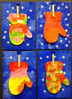 Mitten art project for first graders. Beautiful and fun project. :)