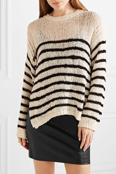 IRO | Lolita striped open-knit cotton-blend sweater | NET-A-PORTER.COM