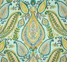 Ombre Paisley Pool:Robert Allen Fabric - Large & colorful paisley on cotton slubby basket fabric. Perfect for upholstery, drapery, slipcovers or pillow covers. Aqua Fabric, Paisley Fabric, Green Fabric, Paisley Pattern, House Color Palettes, Robert Allen Fabric, Fabric Wallpaper, Bedroom Wallpaper, Curtain Designs