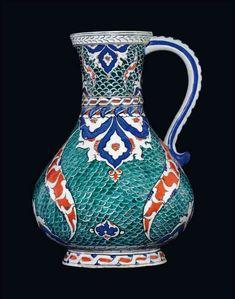 A Large Iznik Pottery Jug, Ottoman Turkey, c.1580