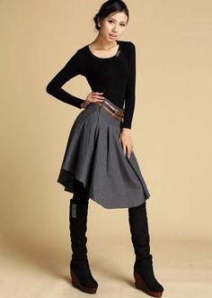 Elegant cute gray woolen mini skirt 359 by xiaolizi on Etsy, $48.00