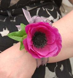 High School Homecoming Corsages | ... Cerise Pink Anemone Wedding Wrist Corsage, Bridesmaids, School Prom