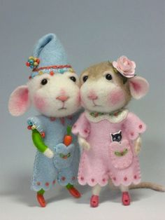 Dressed Mouse/Bunny Class Needle Felted Animal Class / par barby303