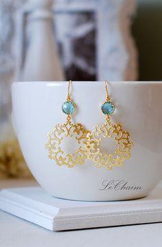 Aqua Blue Drop Earrings Gold Filigree Dangle Earrings by LeChaim, $26.50