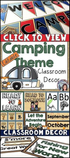 Camping Classroom Editable Decor for your elementary classroom. Your students will love learning in your campground environment!