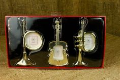 "Musical Instruments Ornament Frame Set Trumpet Horn Cello Christmas 5"" NEW"