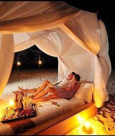 Romantic night on the Beach <3 @}-,-;—