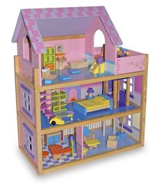 Case delle bambole in legno - Coloratissima casa delle bambole